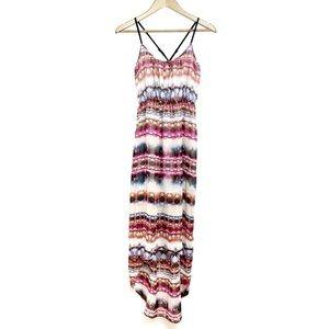 TOPSHOP Tie Dye Striped X-Back Hi Lo Tank Dress 8